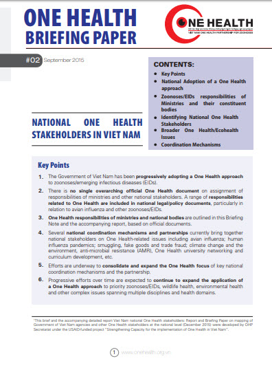 OH Brief No.2 - National One Health Stakeholder in Viet Nam